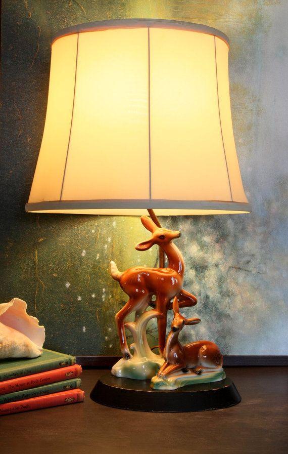 Vintage Deer Lamp   Mid Century   Ceramic 1950