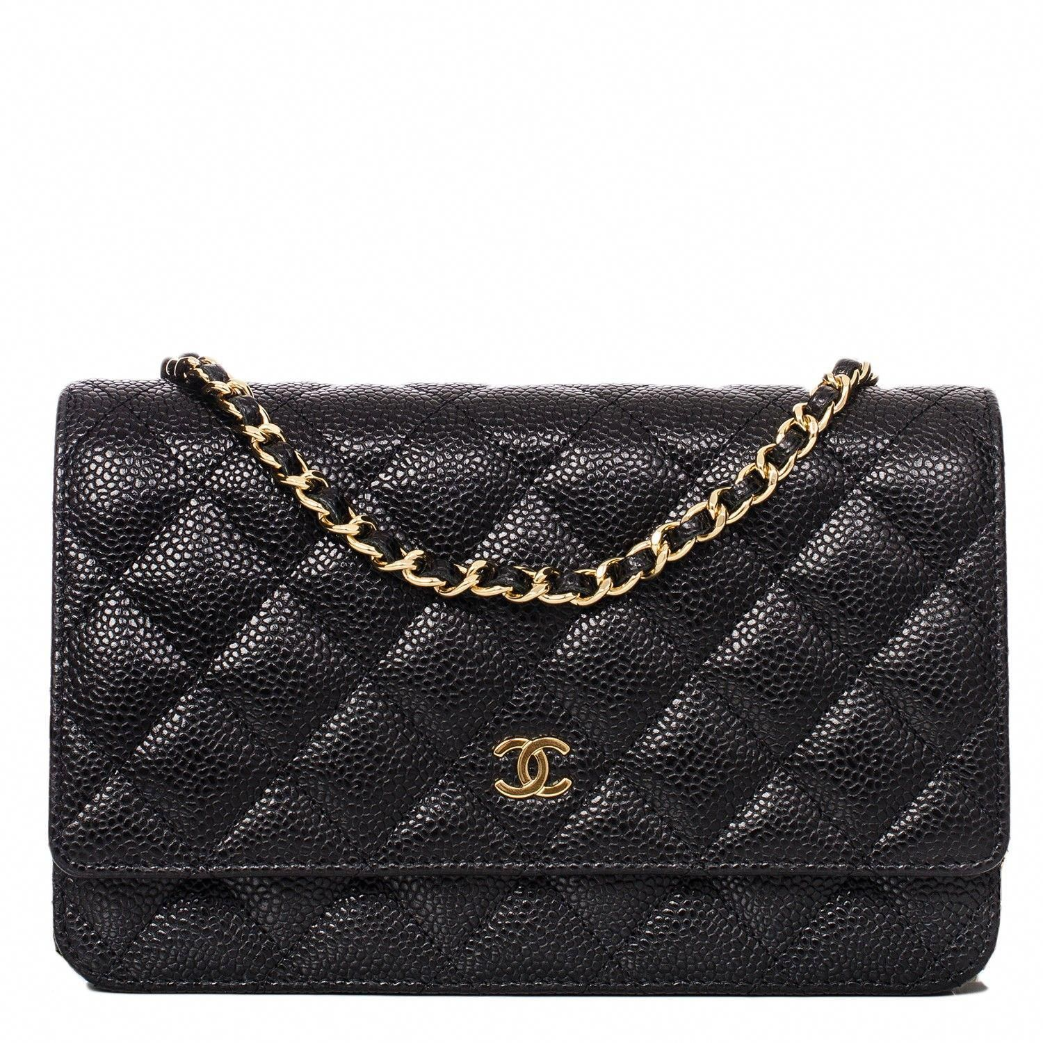 d107601adafc Chanel Black Classic Quilted Caviar Wallet On Chain (WOC) #Chanelhandbags