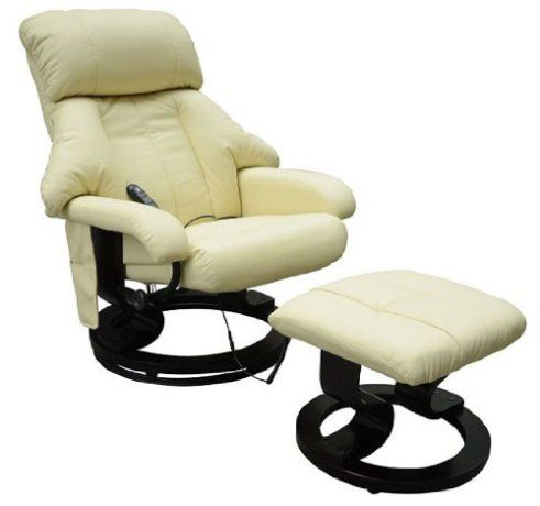Homcom Luxury Cream Leather Recliner Electric With Foot Stool Leather Recliner Chair Massage Chair Leather Chair