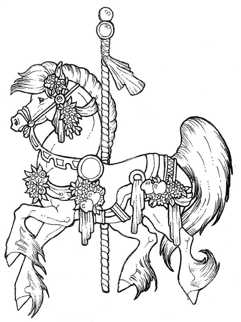 A Carousel Horse Coloring Page Horse Coloring Pages Animal Coloring Pages Coloring Books