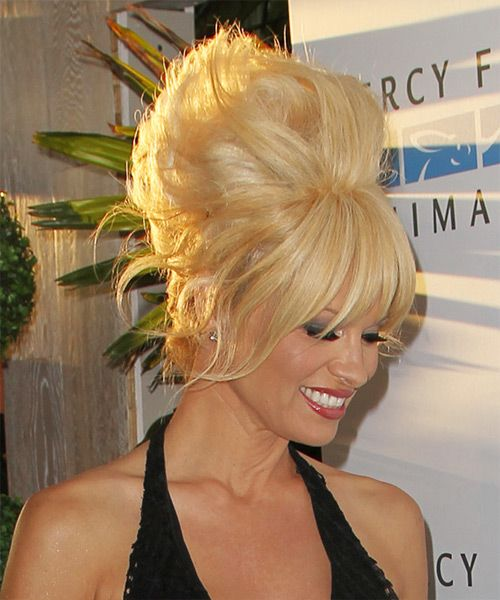 Pamela Anderson Long Straight Alternative Updo Hairstyle with ...