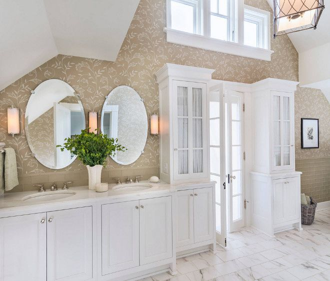 I love the tile combination the cabinets flanking the French doors