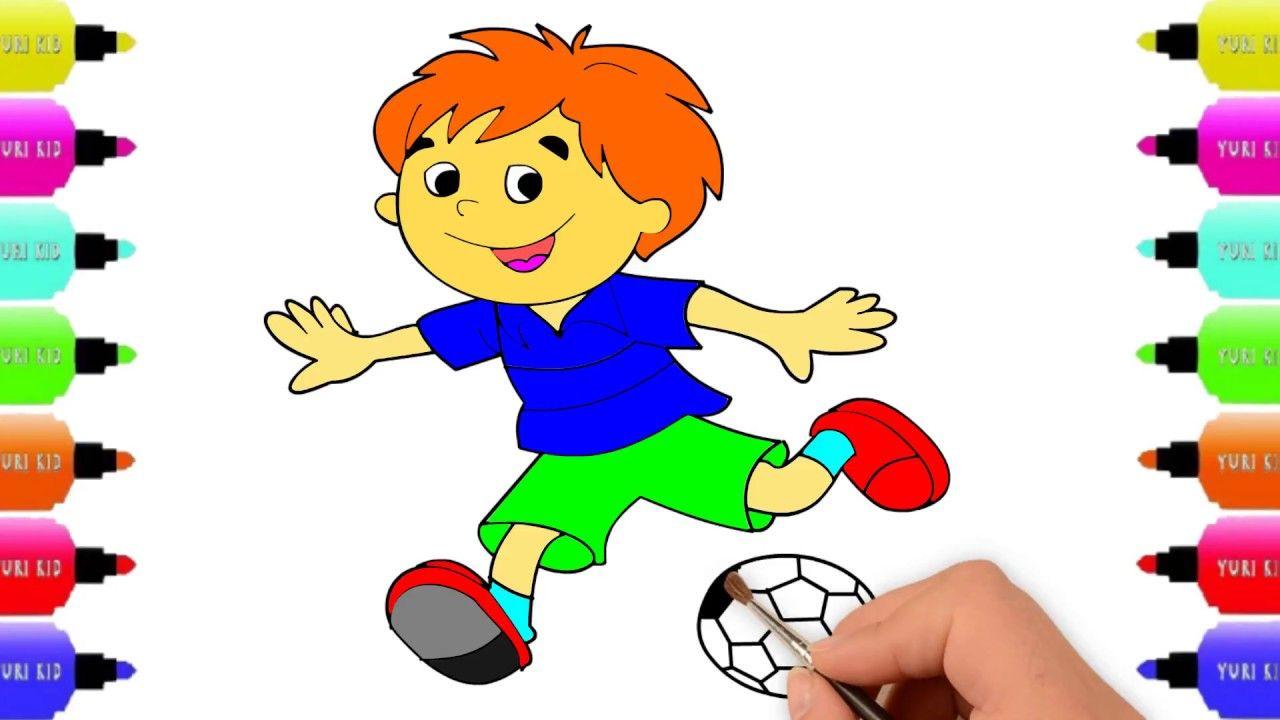 Boy Playing Football Drawing Soccer Player Drawing Hawmawkidswonderland Football Drawing Playing Football Boys Playing
