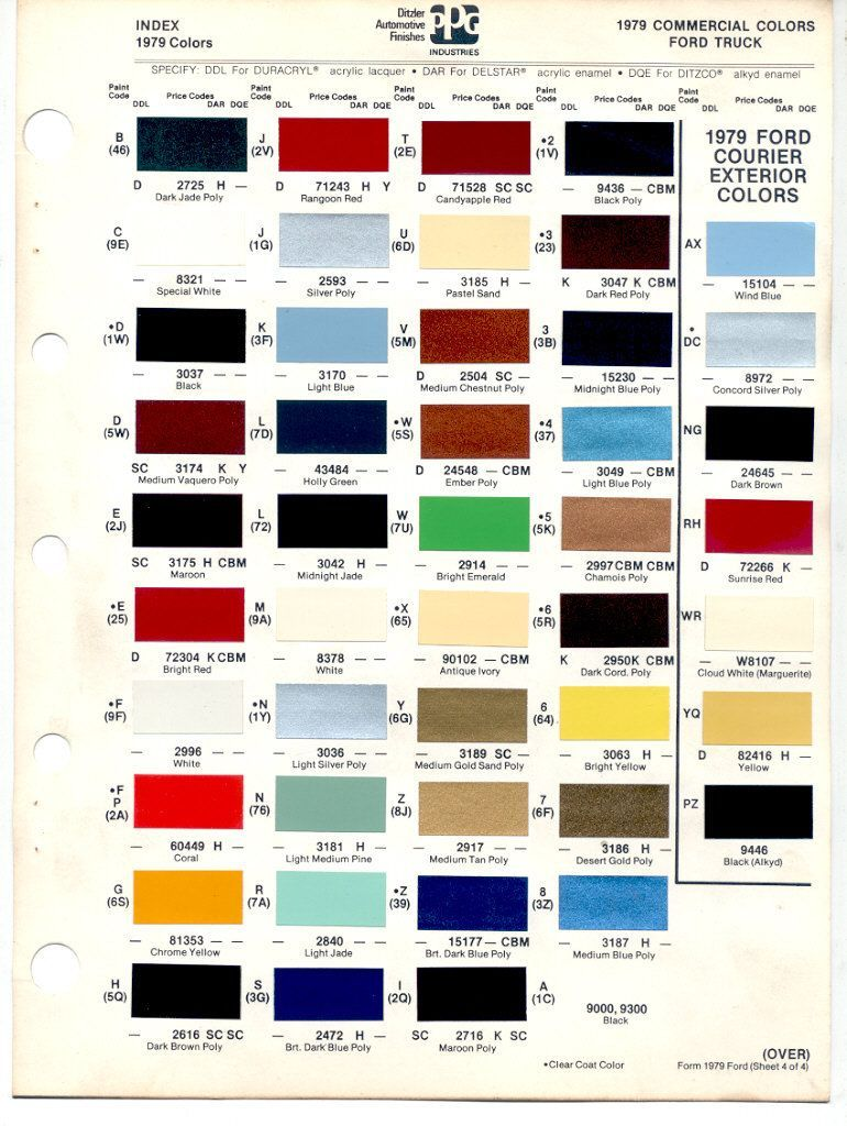 Auto Paint Codes 1978 79 Bronco Color Codes 7879blueovalbronco Com Ford Bronco And Car Paint Colors Bronco Paint Color Chart