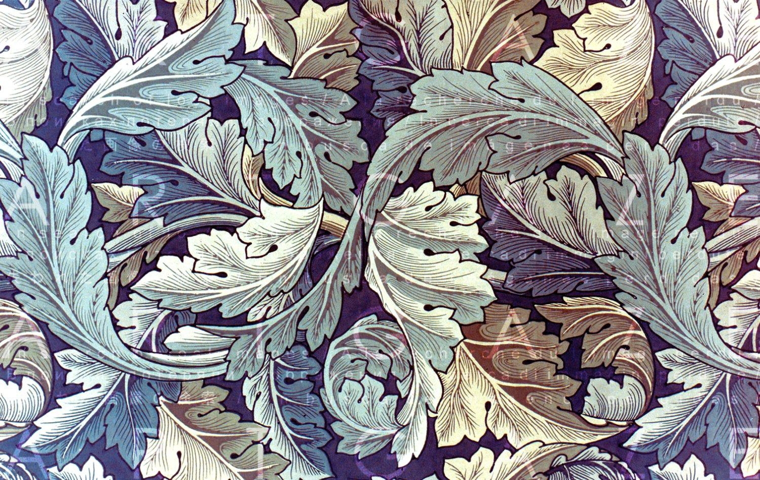 Art Nouveau Acanthus Leaves Illustration William Morris Etsy History Wallpaper Art And Craft Videos Arts And Crafts Movement