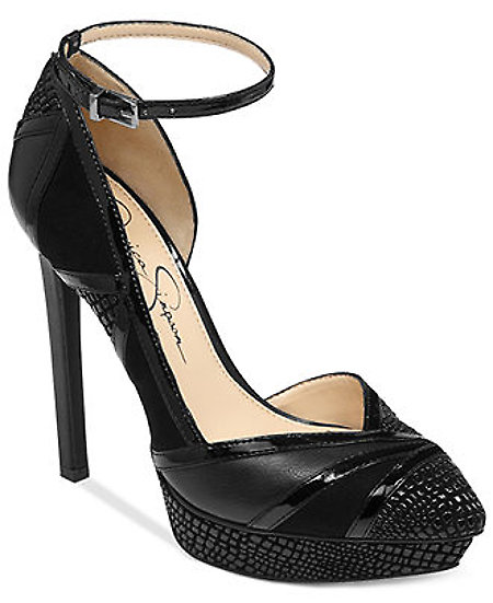 """Buy Women Shoes Online in India at allMemoirs. The Vinidi platform pumps by Jessica Simpson add texture and glam to your look. Imported Upper: fabric/manmade upper (silver combo) leather/fabric (black/lizard combo) Round closedtoe twopiece platform pumps with ankle strap and dorsay cutout 1"""" platform, 49/10"""" heel Manmade sole. More details at our website."""