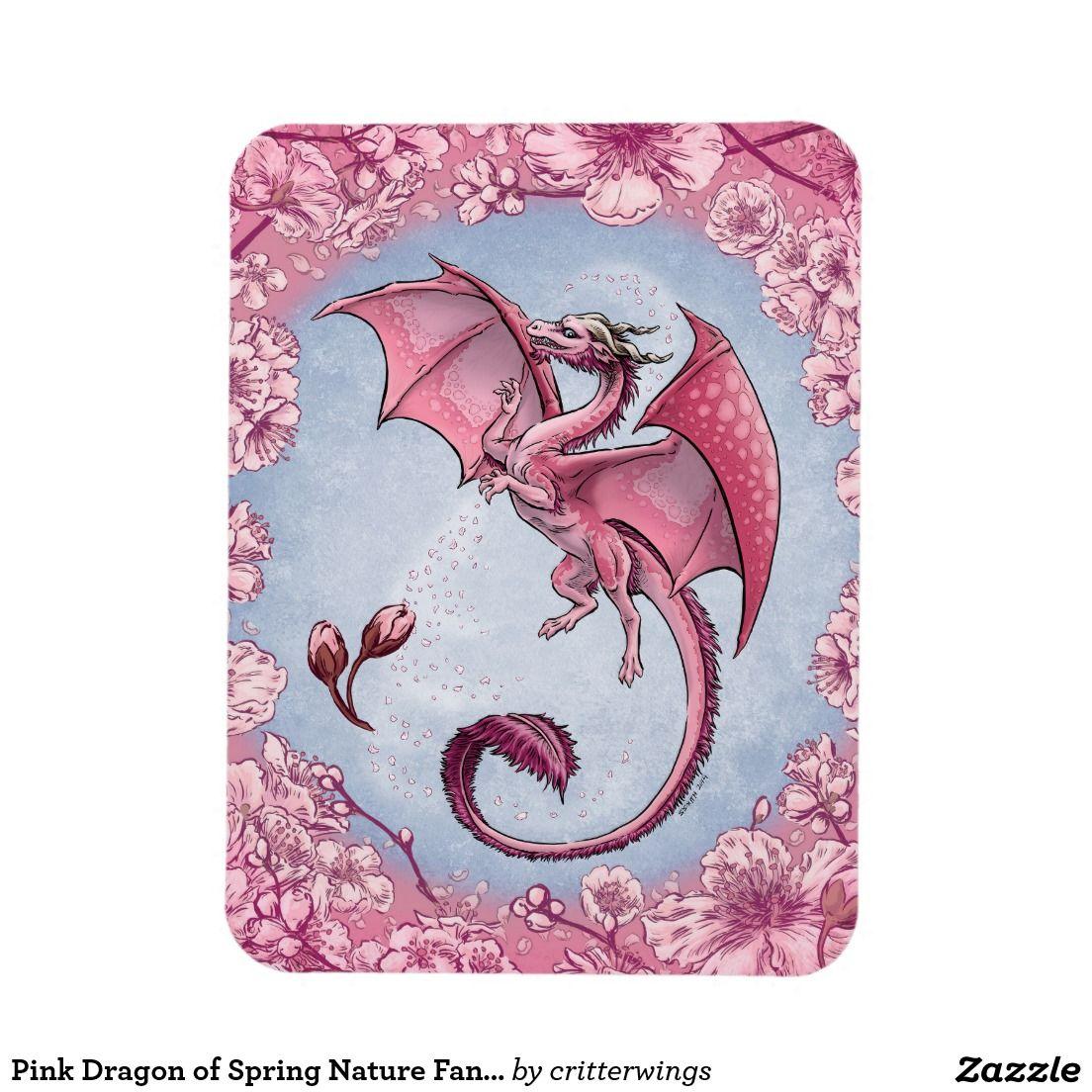 Pink Dragon of Spring Nature Fantasy Art Rectangular Photo Magnet
