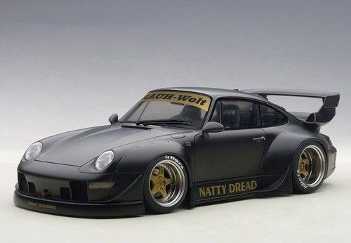 AUTOart Porsche RWB 993 78154 Matt Black Gold Wheels Model Car 1:18