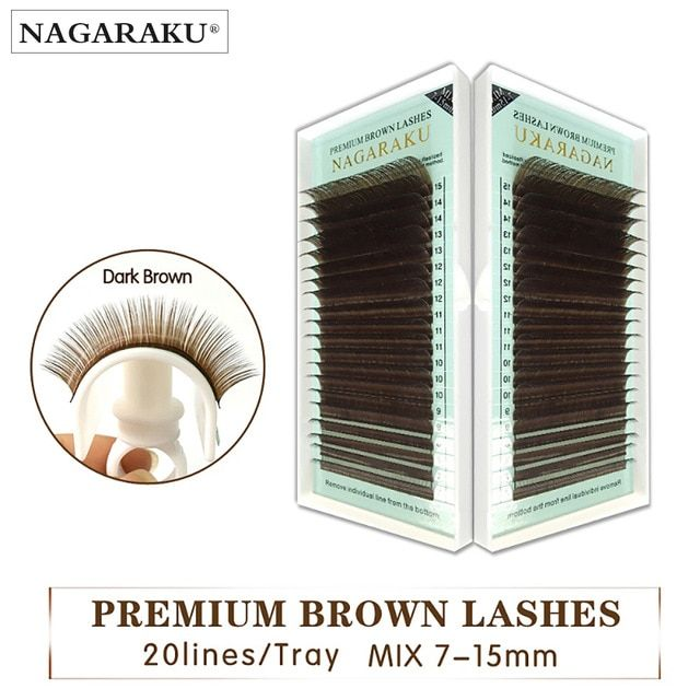 b97d1f78587 NAGARAKU Mix 7~15mm in one case,Individual Eyelashes False Mink ligColored Fake  Natural Eyelash Extension light brown color Review