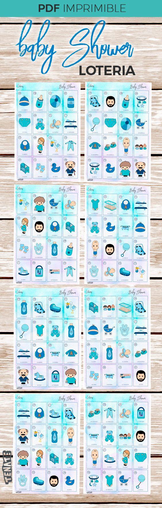 Loteria Baby Shower Nino Juegos Baby Shower Pinterest