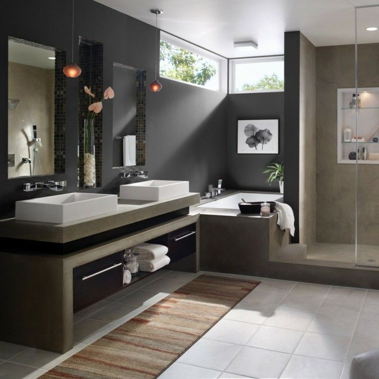 Couleur salle de bains id es sur le carrelage et la peinture baths interior interiors and bath for Peinture a carrelage