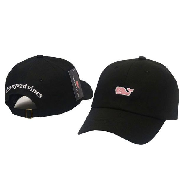 d686fdae7 Whale Embroidered Black Strapback Golf Casquette Southern Tide Fish ...
