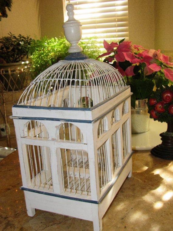 Adorable Vintage Bird Cage Wire And Wood Bird Cage Shabby Cottage Chic Home And Living Home Decor Shabby Chic Birdcage Birdcage Wood Bird Bird Cage Bird Wallpaper