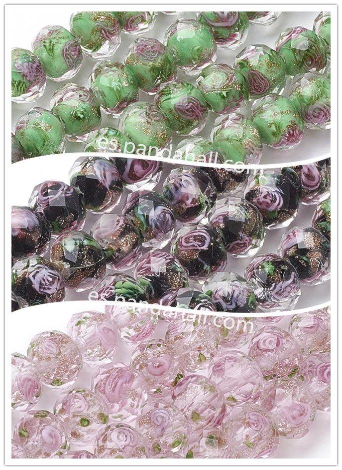 PandaHall Abalorios de Murano Abalorios de murano de cristal con arena de oro y flores de PandaHallVengan a usarlos a hacer bisuteríasabalorios