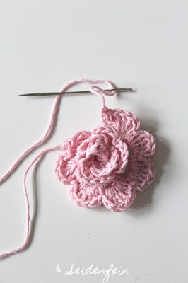 Häkelherz Tutorial Rosen, Blätter & Ranken - Finish * DIY crochet heart tutorial: roses, leafs and vines - finish