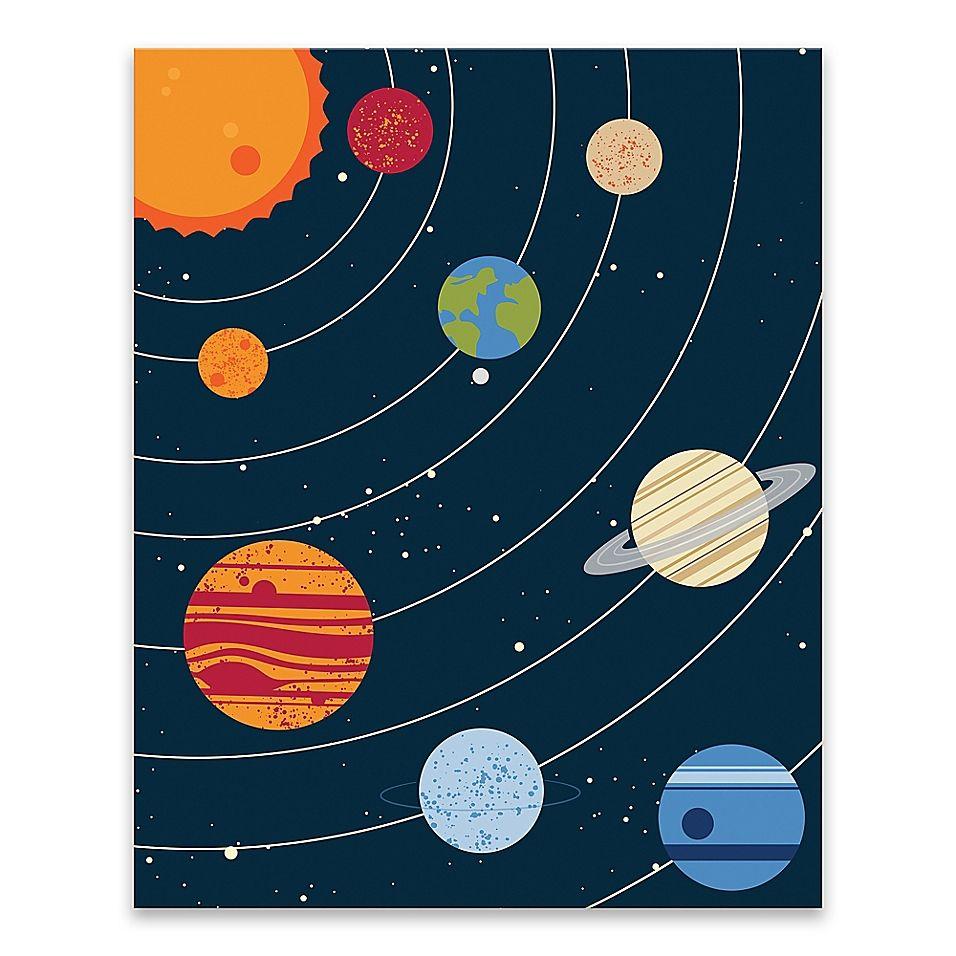 Lot26 Studio Solar System 16 X 20 Wrapped Canvas Multi Planet Painting Solar System Art Canvas Painting Diy Solar system bathroom decor