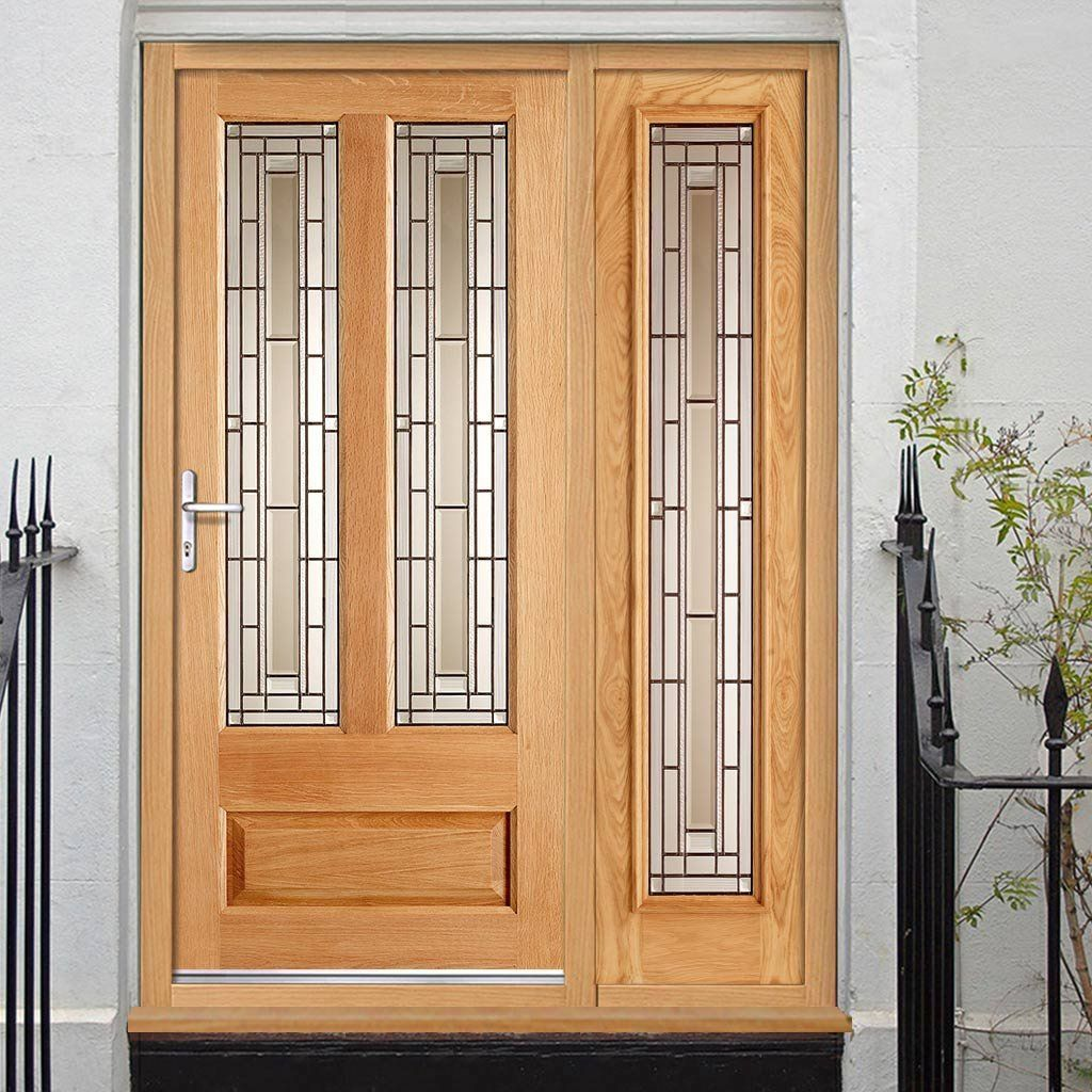 Granada Exterior Oak Door And Frame Set With One Side Screen And
