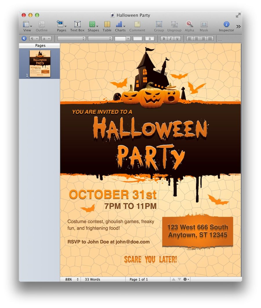 Halloween Party Invitation Template For Pages  MactemplatesCom