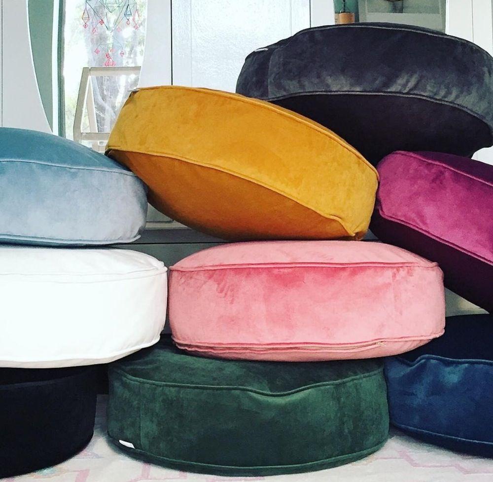Lavish Velvet Round Floor Cushion Inc Gst Floor Pouf Floor Cushions Diy Pouf