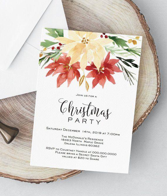 Christmas Party Invitation, Printable Floral Christmas Invitation