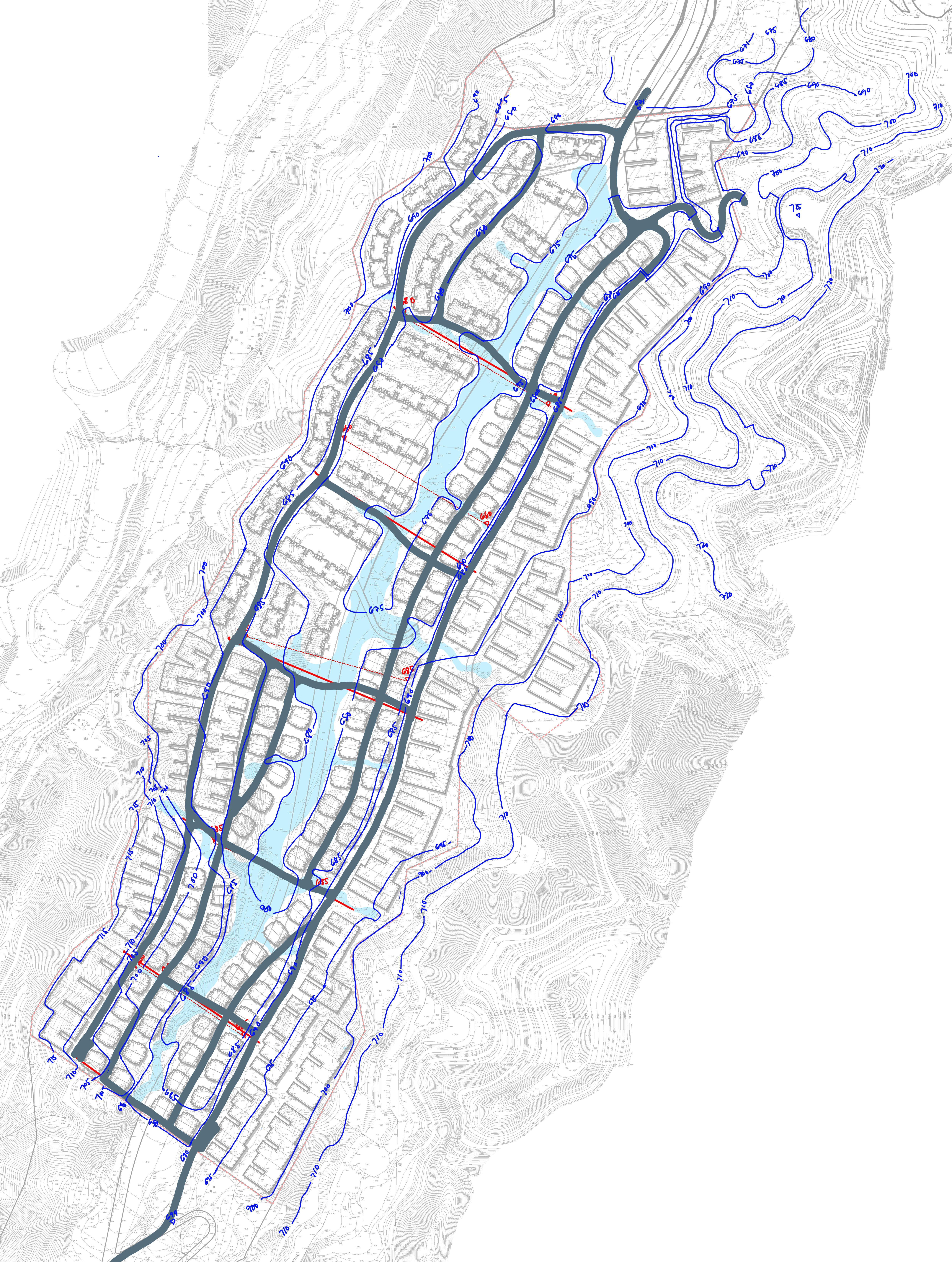 Schematic Contour Design Landscape Contour Preliminary Road Mountain Development Landscape Master Plan Contour