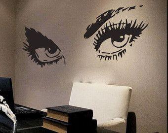 Wall Decal Eyes View Face Vinyl Sticker Make Up Woman Face Beauty Salon NS419