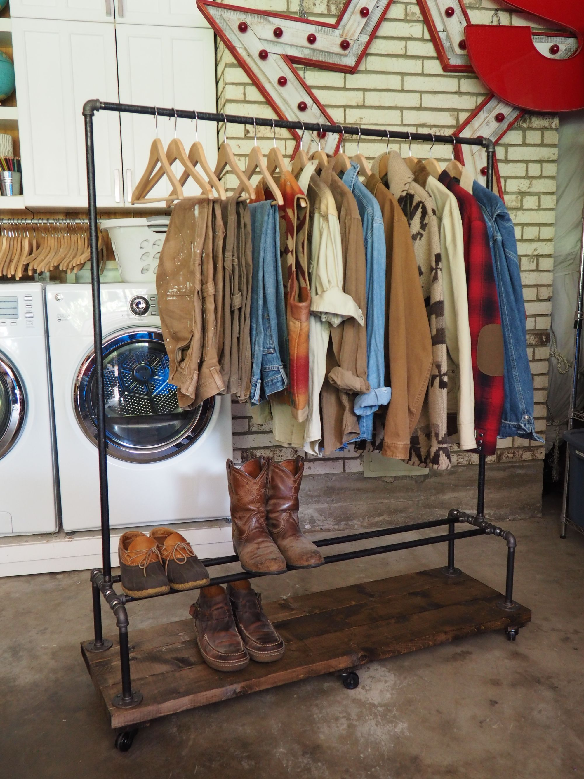 shelving by zoom clothing rack pipe wood listing cedar il au rolling industrial fullxfull with