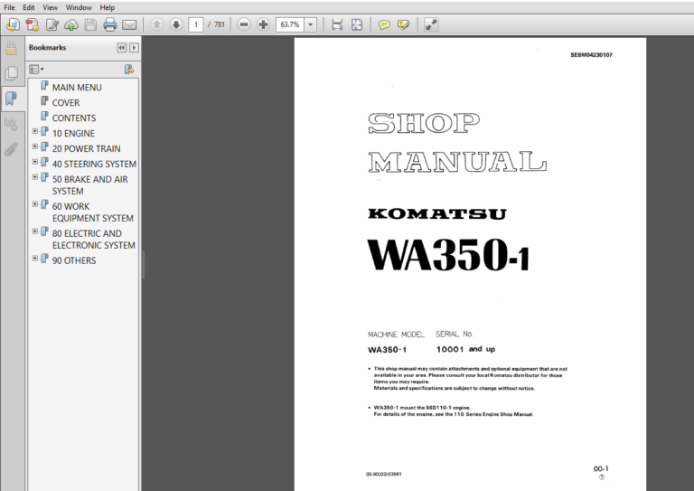 Komatsu Wa350 1 Wheel Loader Service Repair Manual Pdf Download Repair Manuals Komatsu Manual