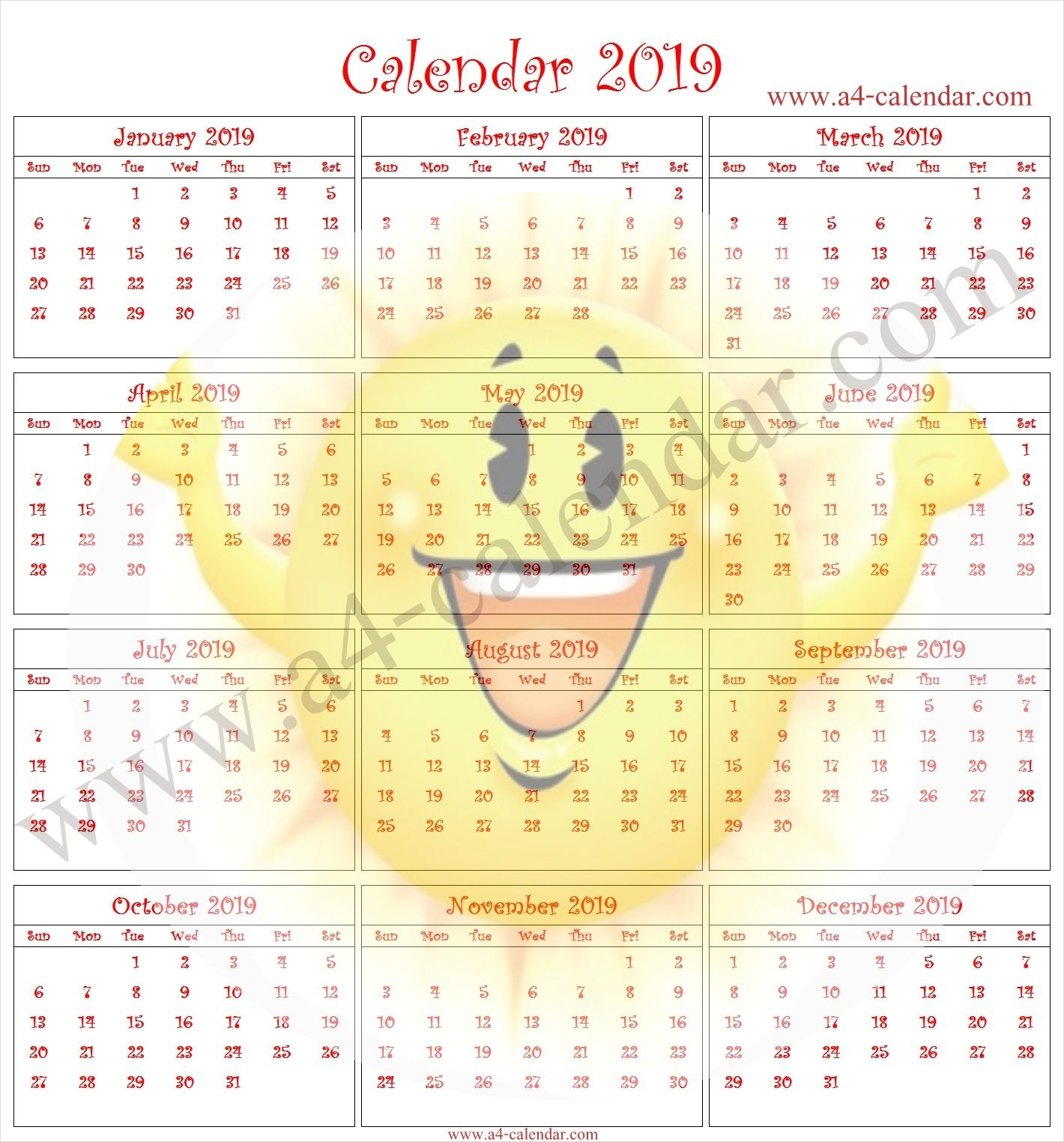Kids Printable Calendar 2019 Colorful 2019 Calendar Pinterest