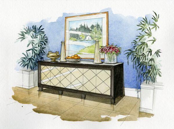 Watercolor Rendering By Wenyu Zhou Via Behance Interior Design