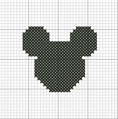Mickey Silhouette - Crochet / knit / stitch charts and graphs
