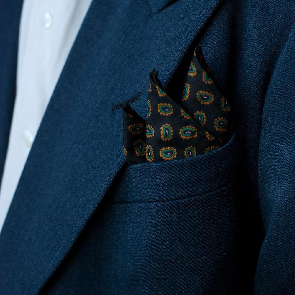 Goorin Gentleman Pocket Square in White/Black/Blue