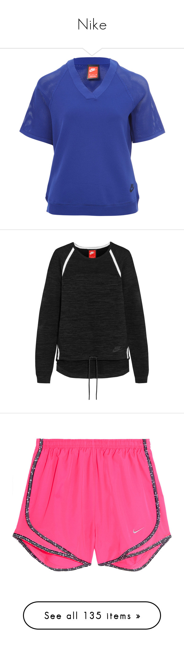 """""""Nike"""" by desertunknownwolf ❤ liked on Polyvore featuring tops, nike top, v neck knit top, blue knit top, blue top, double layer top, black, nike, stretch jersey and activewear"""
