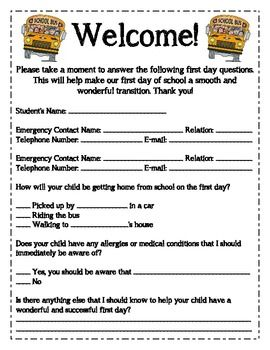 Open House Parent Form  For The First Day Of School  Free