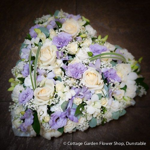 Lilac Cream Pastel Heart The Cottage Garden Flower Shop Dunstable S Original Florists Funeral Flowers Lilac Flower Shop
