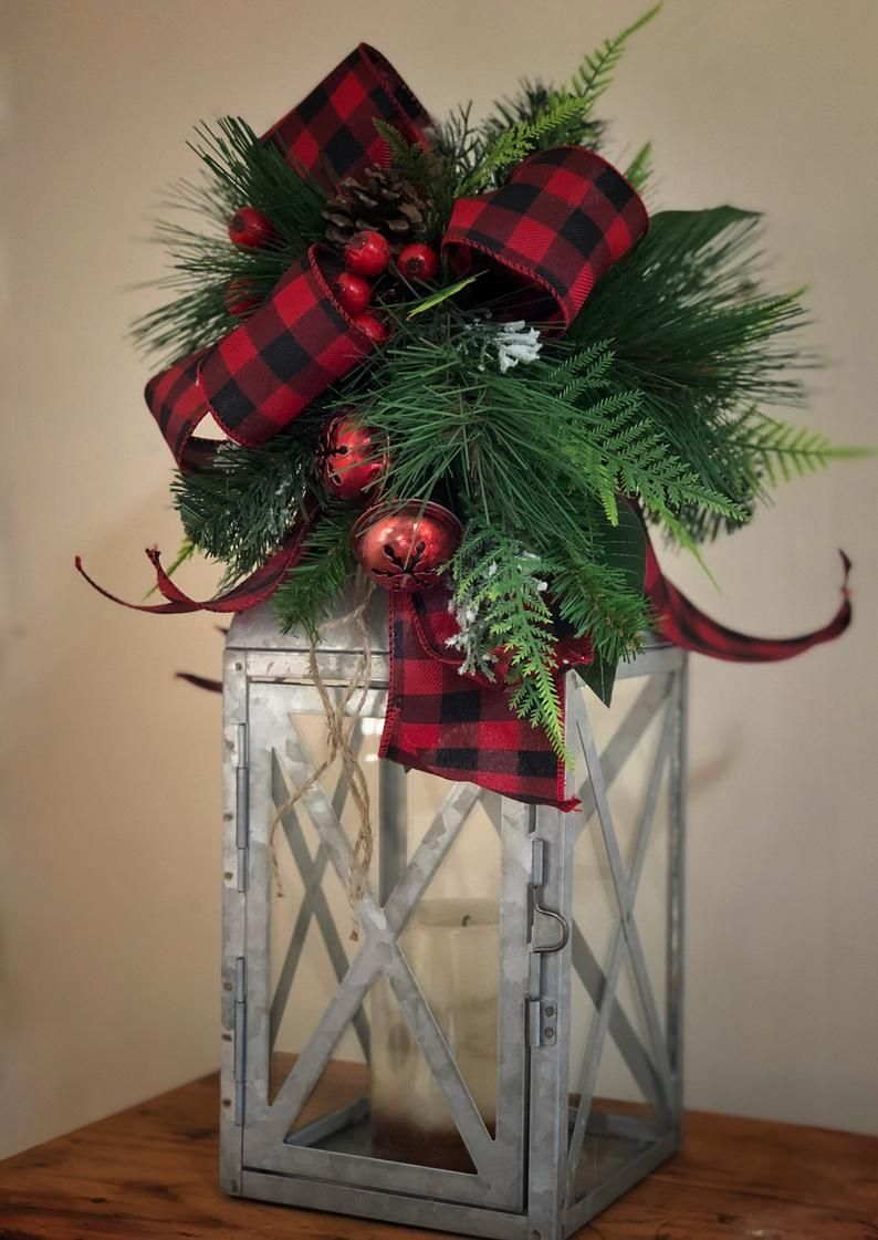 Christmas Decoration, Christmas Lantern Swag, Rustic, Lantern Centerpiece, Table Decor, Kitchen Decor, Holiday, Gift Ideas, Candle Lantern #rustikaleweihnachtentischdeko