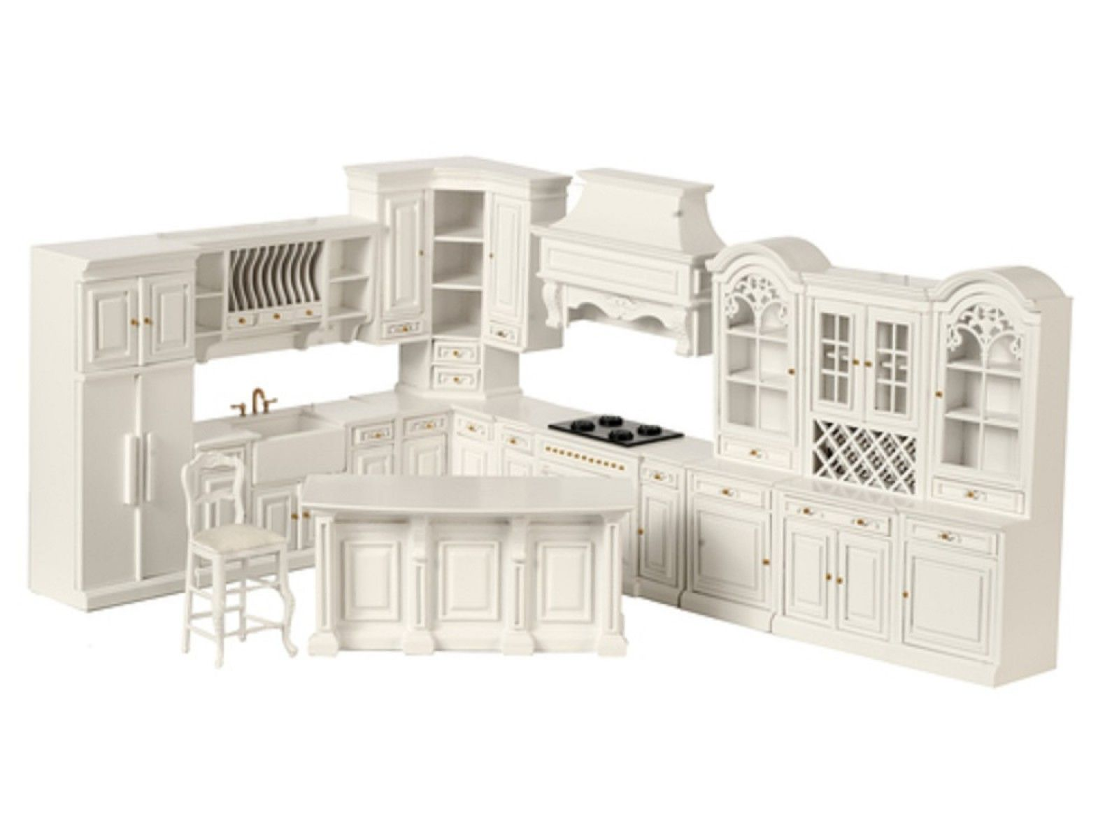 Dolls House White Fitted Kitchen Furniture Set Platinum Collection