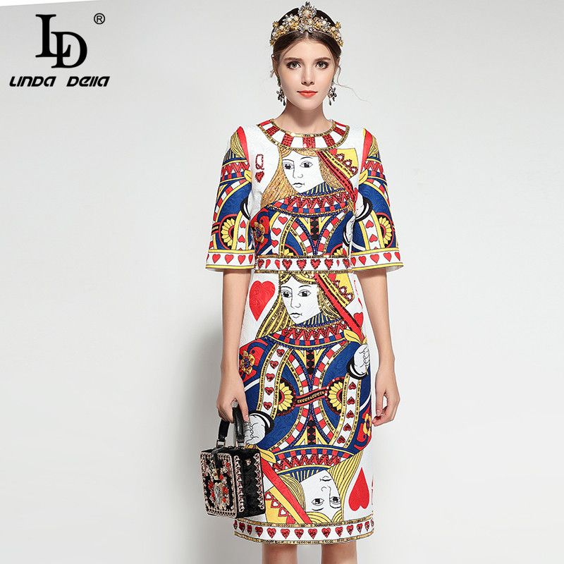 2e68b62577225e Find More Dresses Information about LD LINDA DELLA 2018 Runway Fashion  Designer Dress Women's Half Sleeve