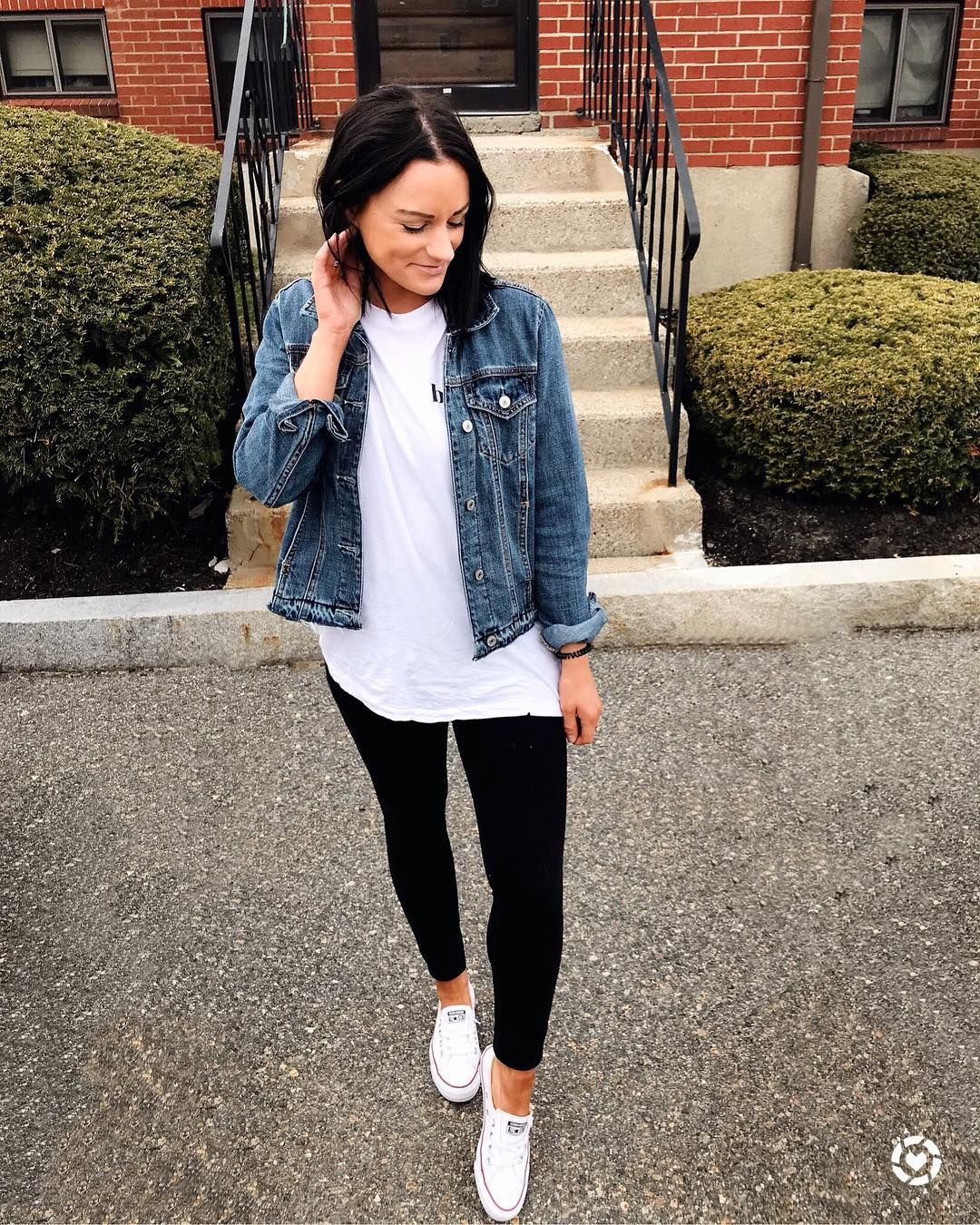 Ig Emjacquelyn Converse Outfit Spring Outfit Cute Outfit Jean Jacket Casual Outfit Legg Converse Outfit Spring Outfits With Leggings Outfits With Converse [ 1350 x 1080 Pixel ]