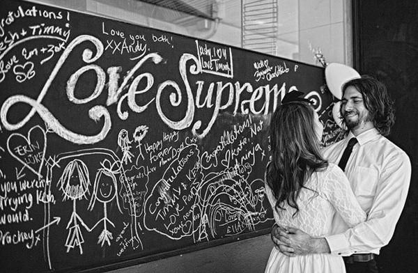 Wedding chalkboard where people can write best wishes to the bride and groom