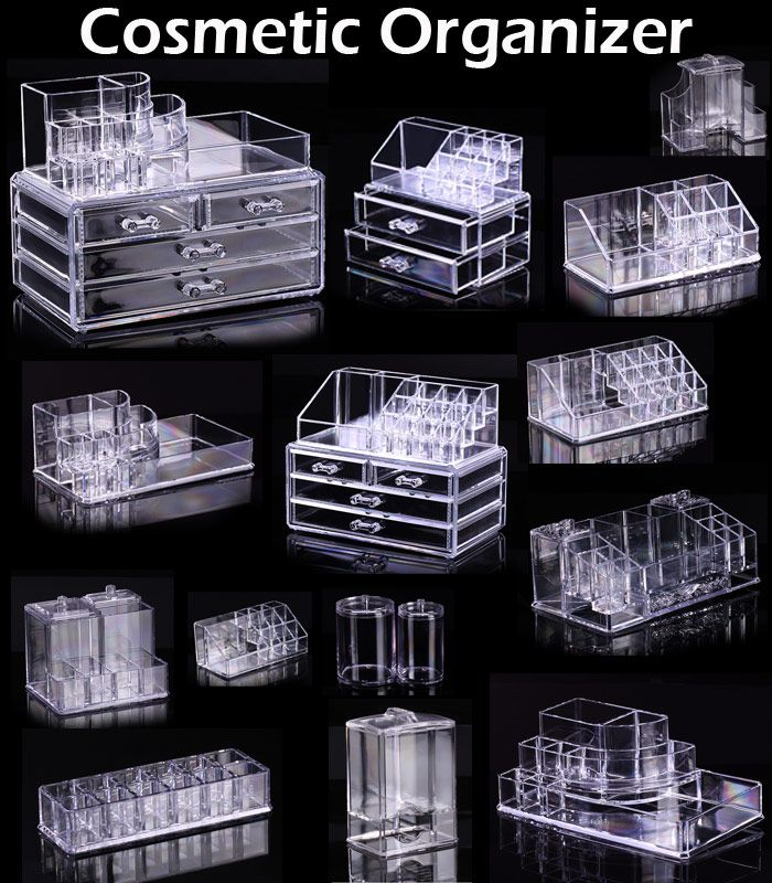 Clear Acrylic 3 Drawers Cosmetic Makeup Display Storage Table ...