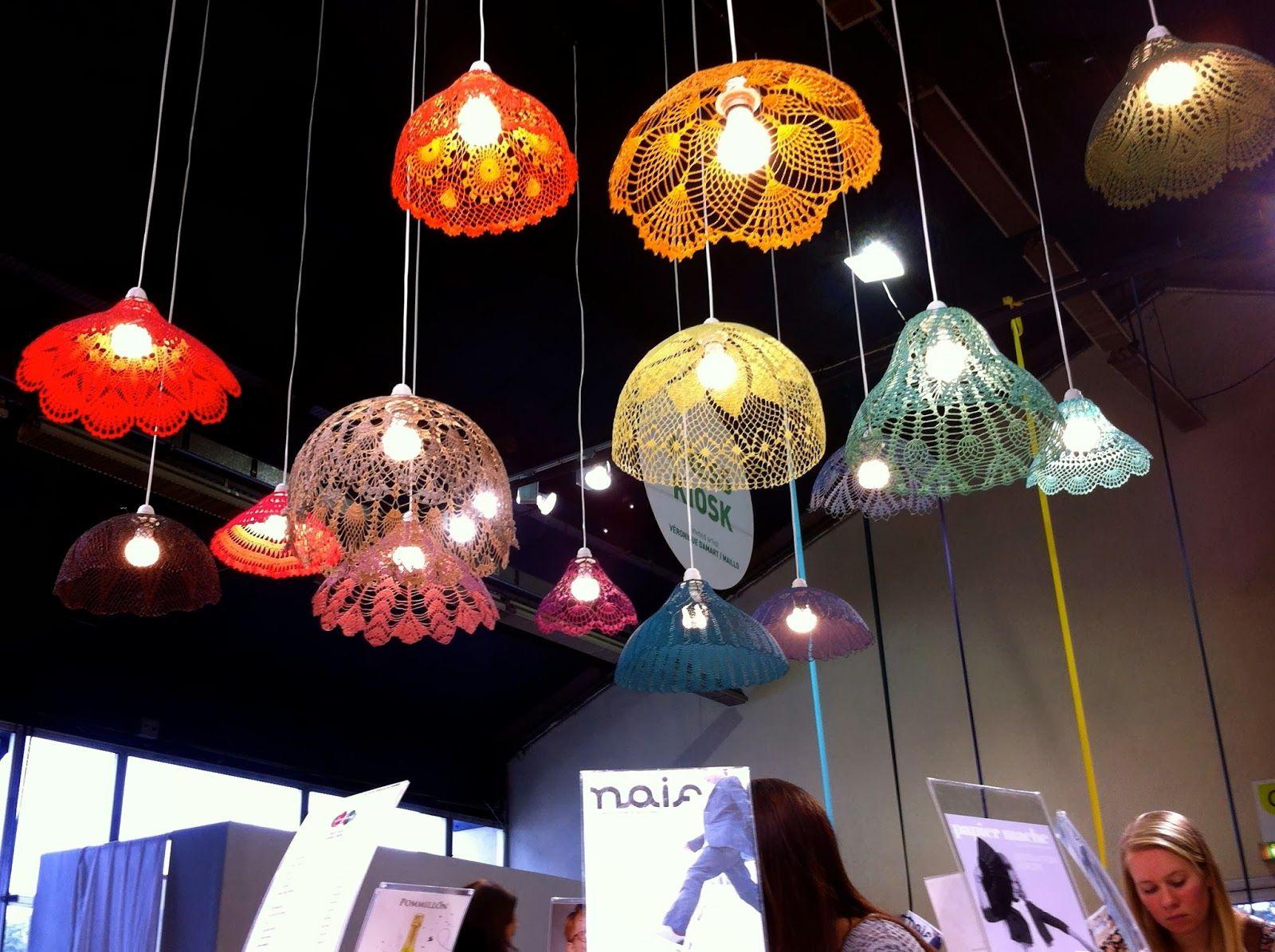 Crocheted lampshades creations maillo au playtime crochet home decor ideas crochet lamp - Decoration au crochet ...