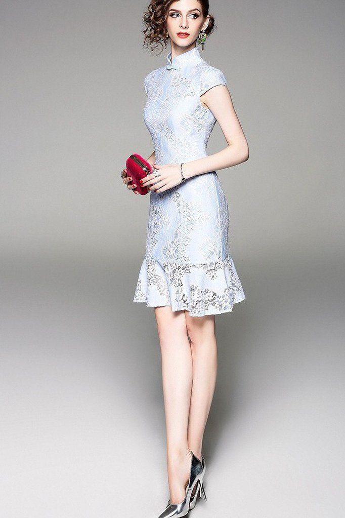f8beda719 Blue Lace Qipao Dress With Fish Tail - Cheongsam Dress | Dress Album