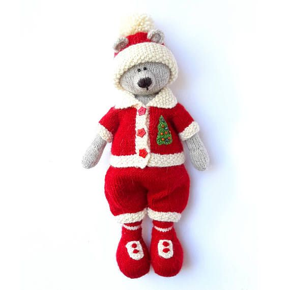 Knitting pattern Christmas teddy bear Knitted toy pattern Christmas ...