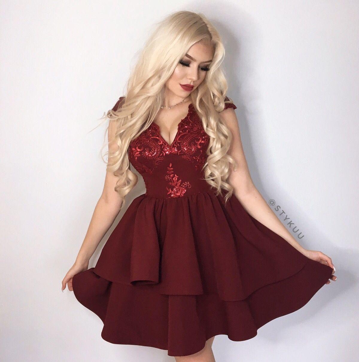 Bordowa Rozkloszowana Sukienka Uszyta W Polsce Piekna Sukienka Na Wesele Illuminate Pl Dresses Evening Dresses Illuminations