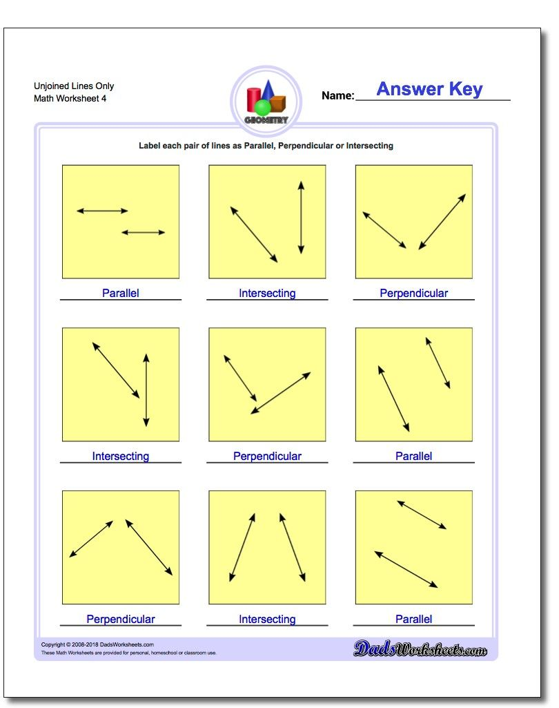 Unjoined Lines Only Worksheet Basic Geometry Worksheet Parallel And Perpendicular Lines Basic Geometry Line Math
