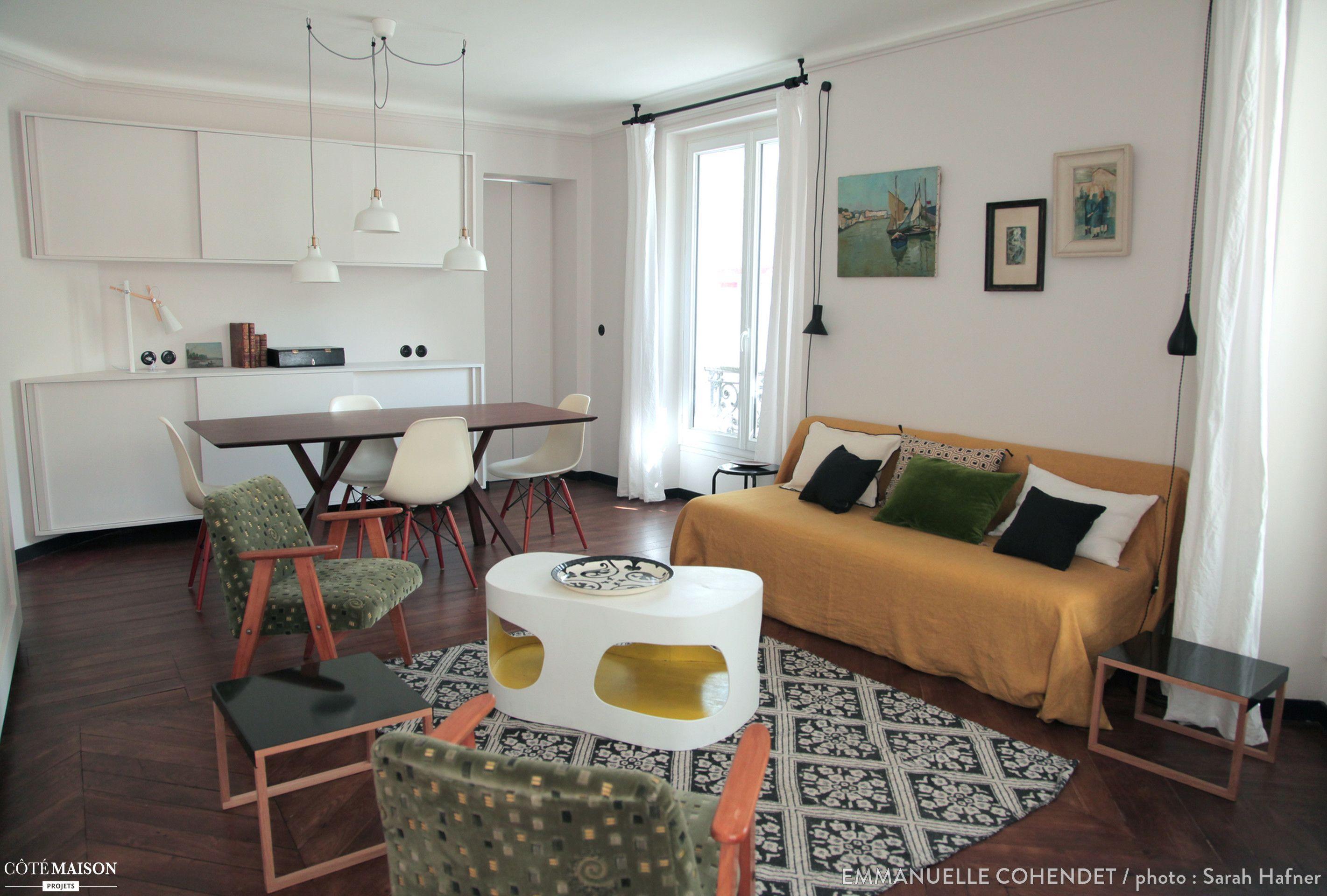 Rénovation Et Décoration Dun Appartement Parisien Emmanuelle - Cote maison salon pour idees de deco de cuisine