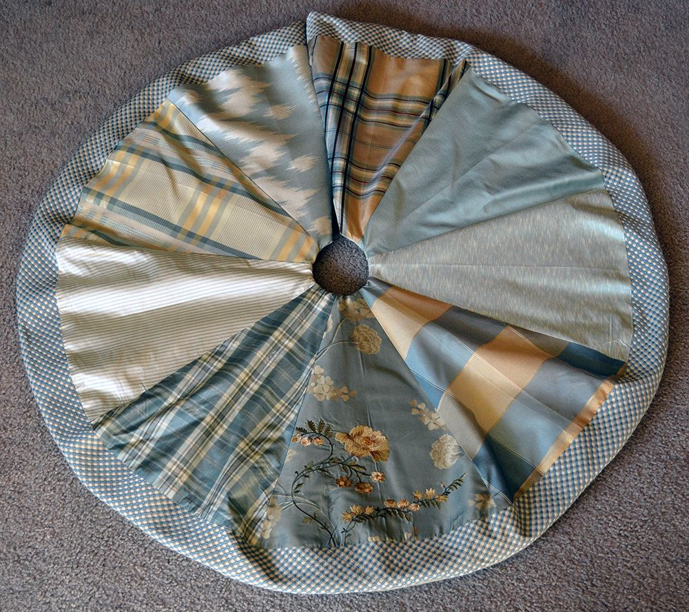 Aqua Christmas Tree Skirt: Aqua And Gold Patchwork Silk Christmas Tree Skirt By