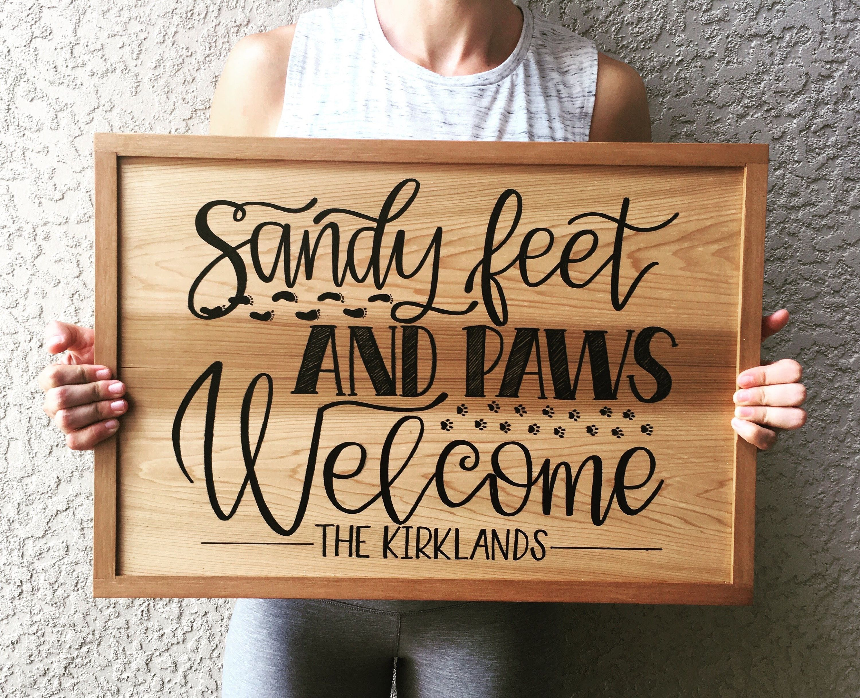 Sandy Feet And Paws Welcome Sign Beach House Sign Beach Cottage Sign Personalized Family Name Sign C Beach House Signs Beach Signs Custom Outdoor Signs
