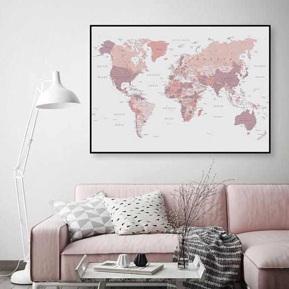 Printable art downloadable map of world map world map pink printable art downloadable map of world map world map pink and grey blush pink poster print wall art bedroom decor grey bedroom these ar gumiabroncs Gallery